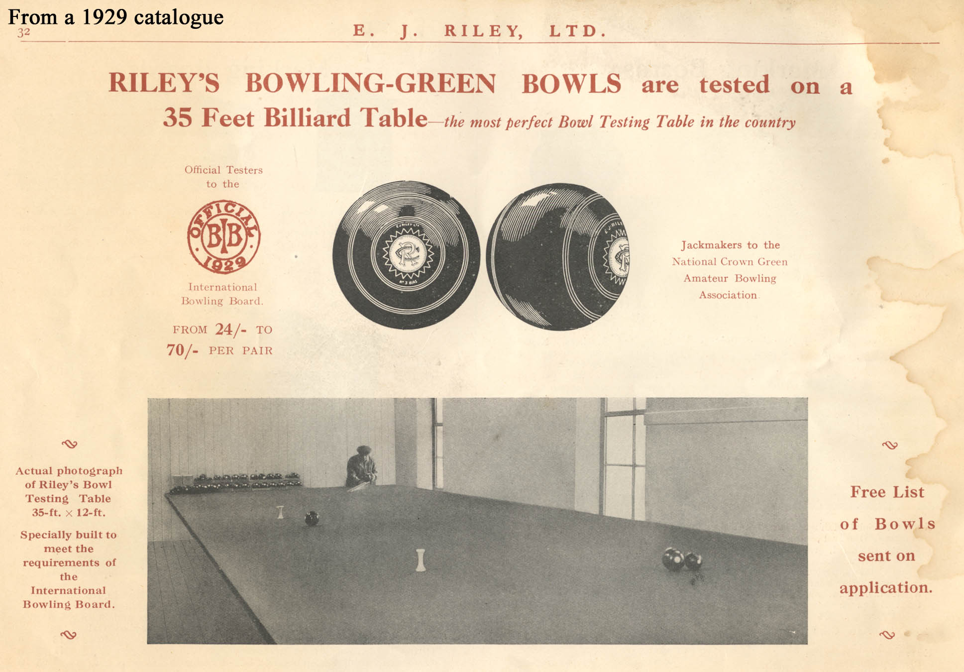 The sport of bowls article 2 re testing lawn bowls the picture above is from a 1929 catalogue and shows a 35ft x 12ft bowls test table it must have been made from 6 full size billiard tables geenschuldenfo Choice Image